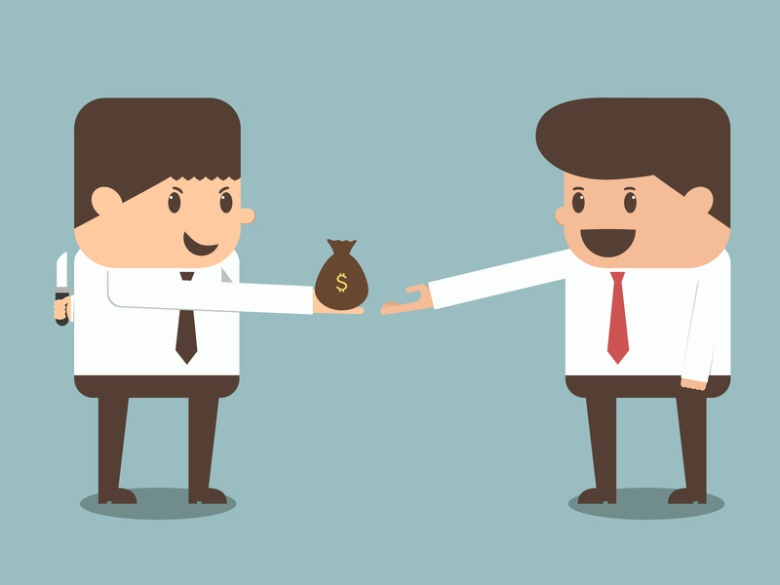 tricky businessman giving money to other businessman vector